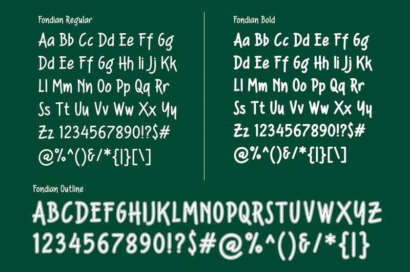 Fondian Font Glyphs